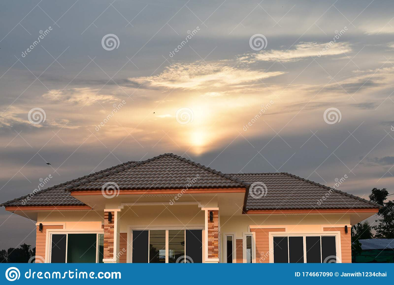 The Tile Roof With Morning Sun Is Perfect For Designs And Backgrounds Stock Photo Image Of Idea Popular 174667090