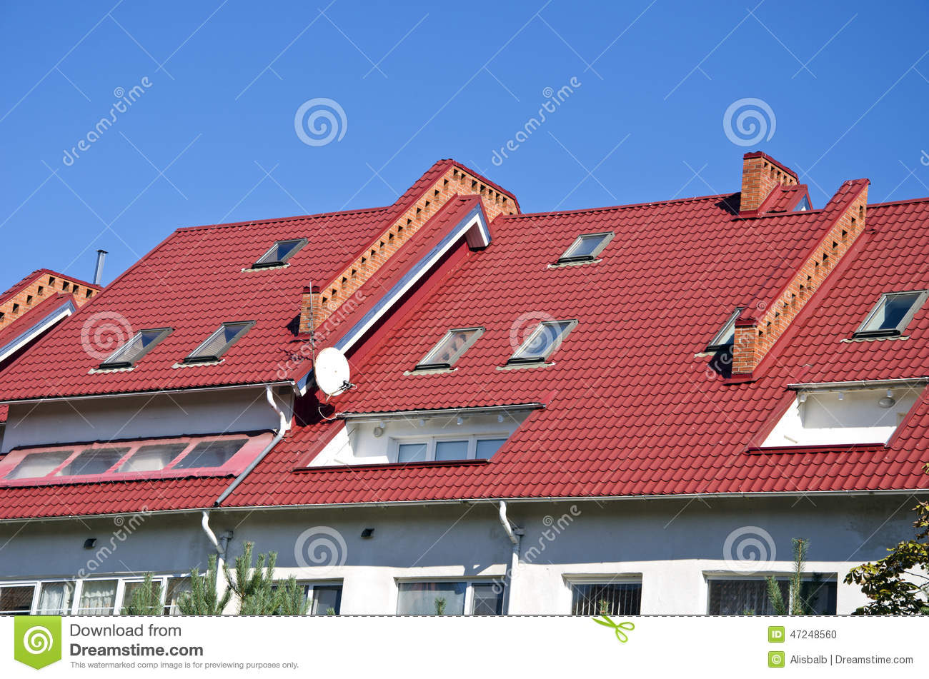 New House Roof With Windows Stock Photo Image 47248560