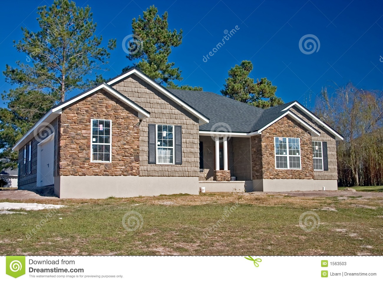 New House Stone And Shake Exterior Stock Image Image