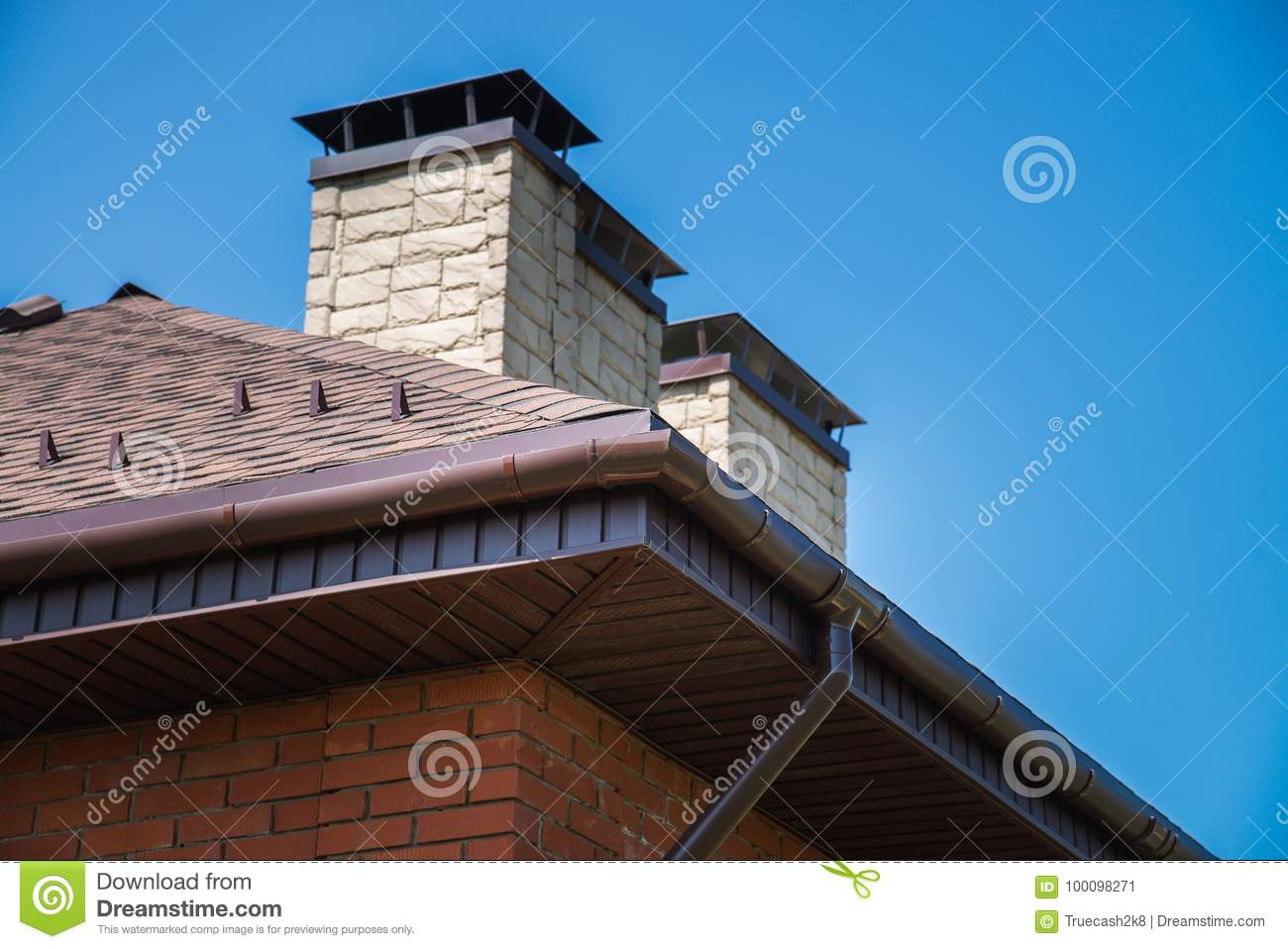 a new house with tiled roof chimney ventilation for heat control