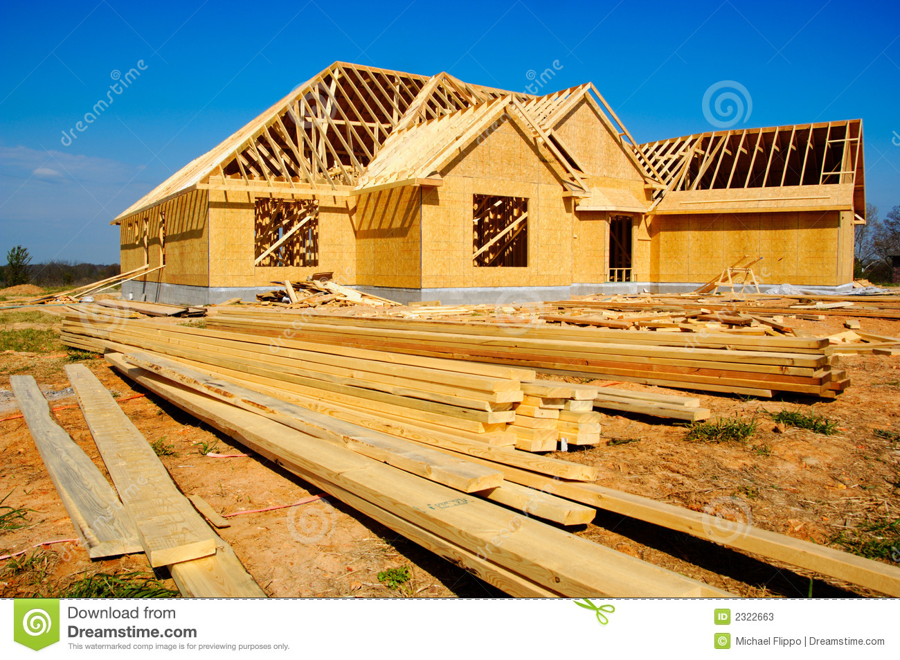 New house under construction stock photos image 2322663 for Cost of building a house in montana