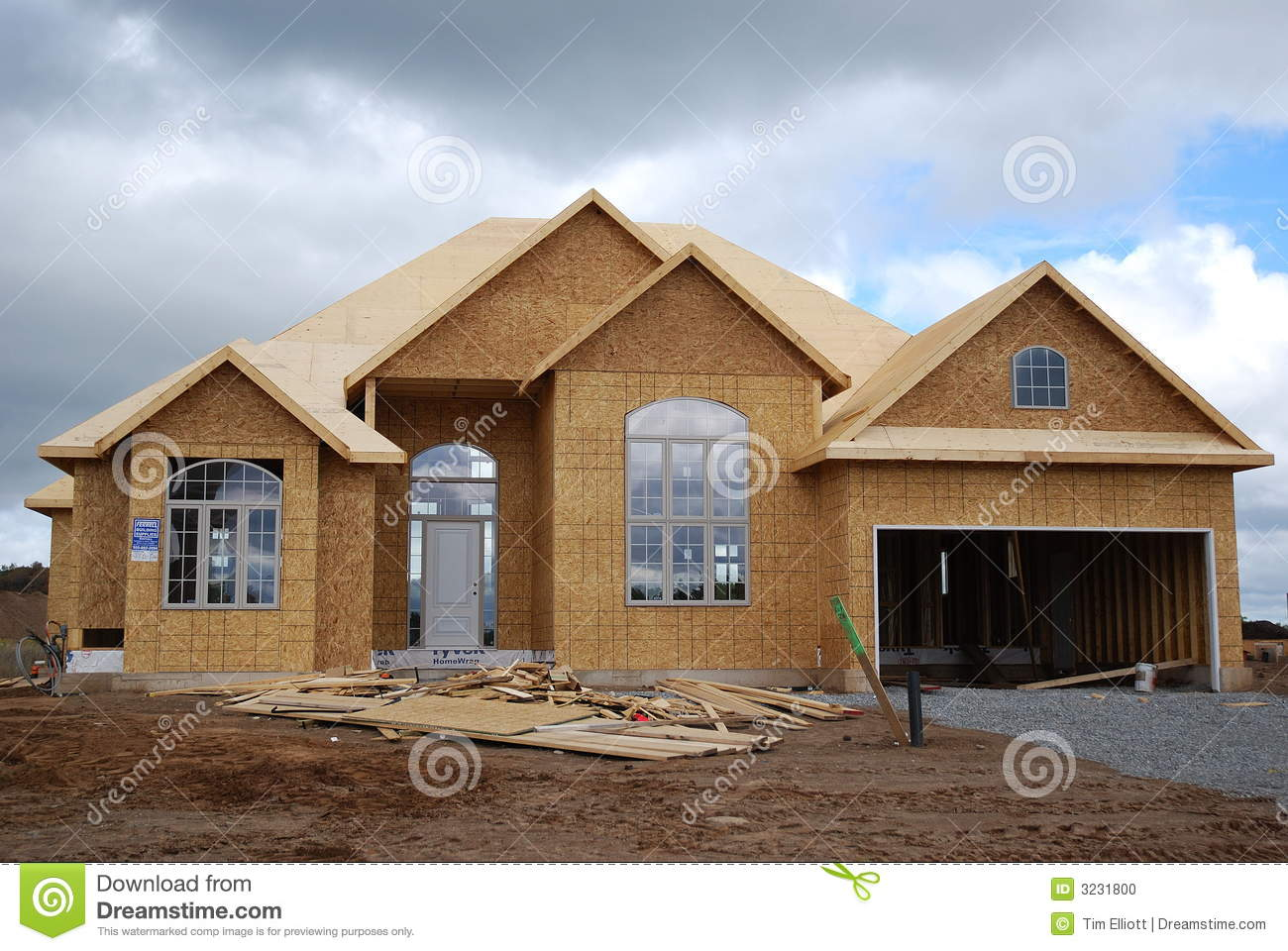 New house under construction stock photo image 3231800 Modern home construction