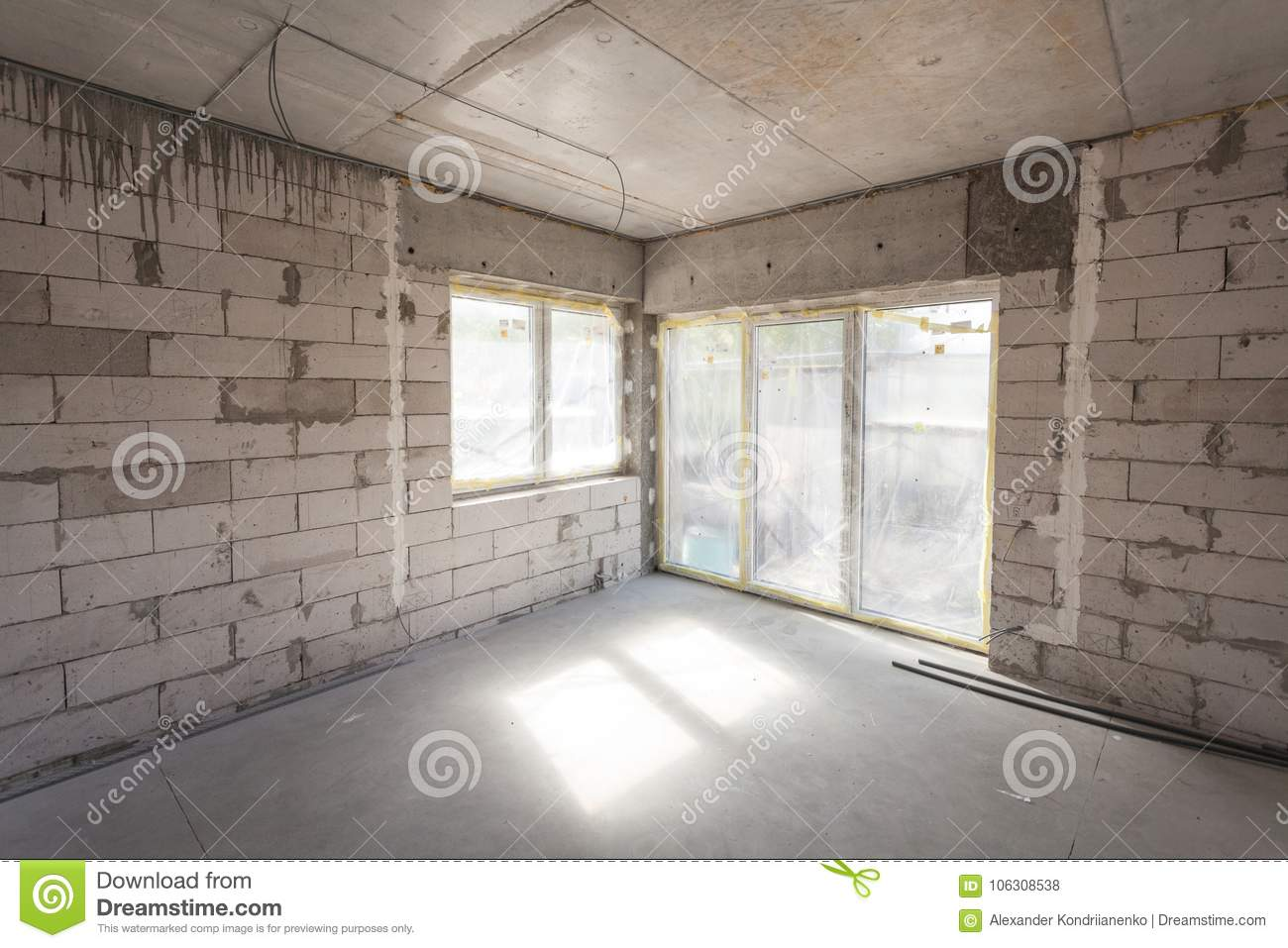 New House Under Construction Aerated Concrete Blocks Cement Wiring Brickwork Walls Plastic Window