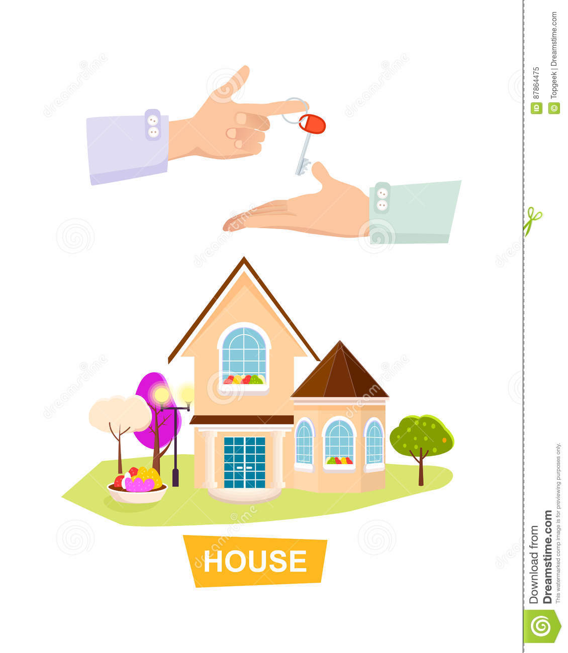 New House On White Background Property Selling Stock