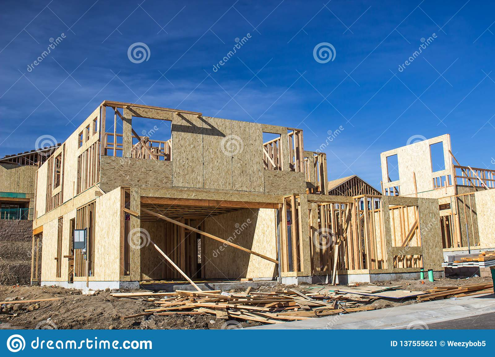 New Housing Development In Construction Framing Stage