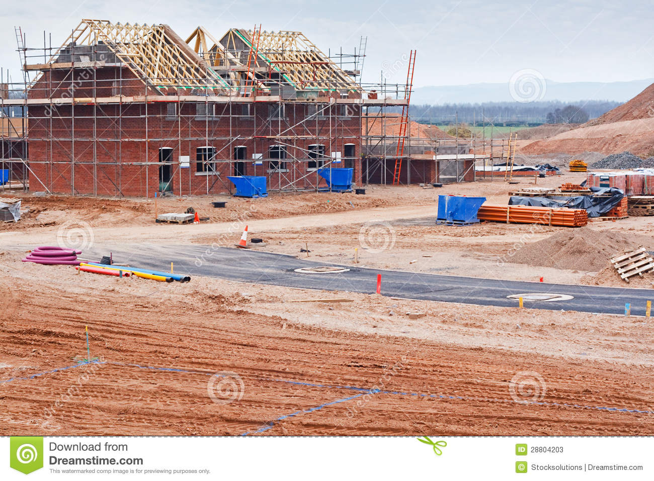 New Housing Estate Construction Site Stock Photos Image