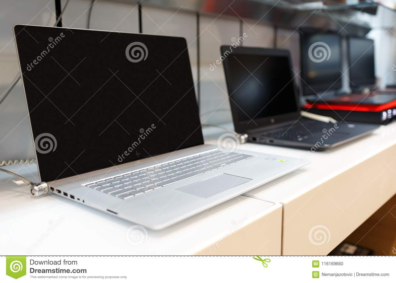 New HP Laptop Computers Displayed In Electronic Store