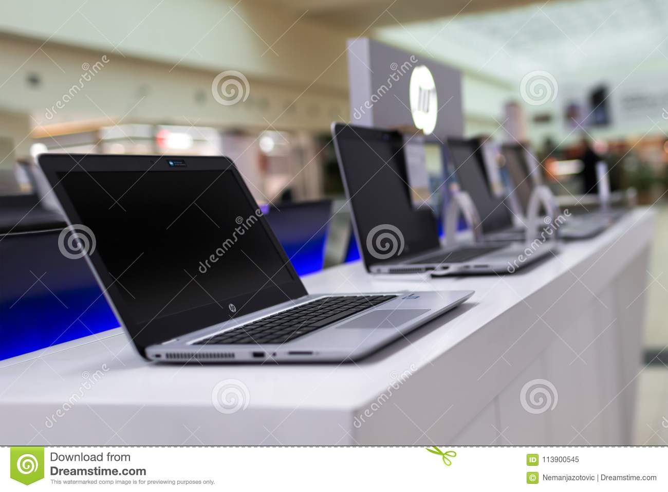 New HP Laptop Is Displayed In Electronic Store Editorial