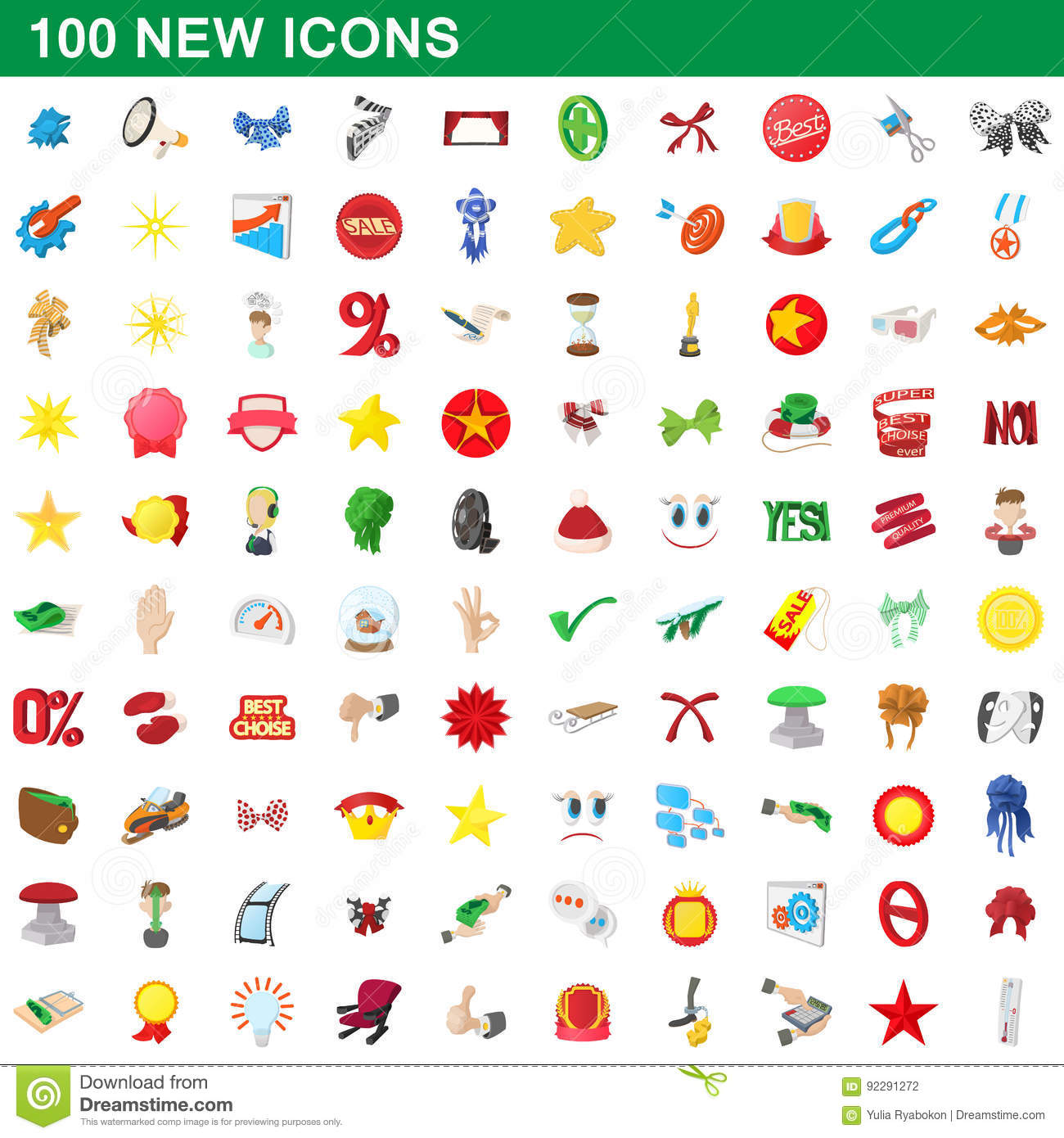 100 New Icons Set Cartoon Style Vector Illustration