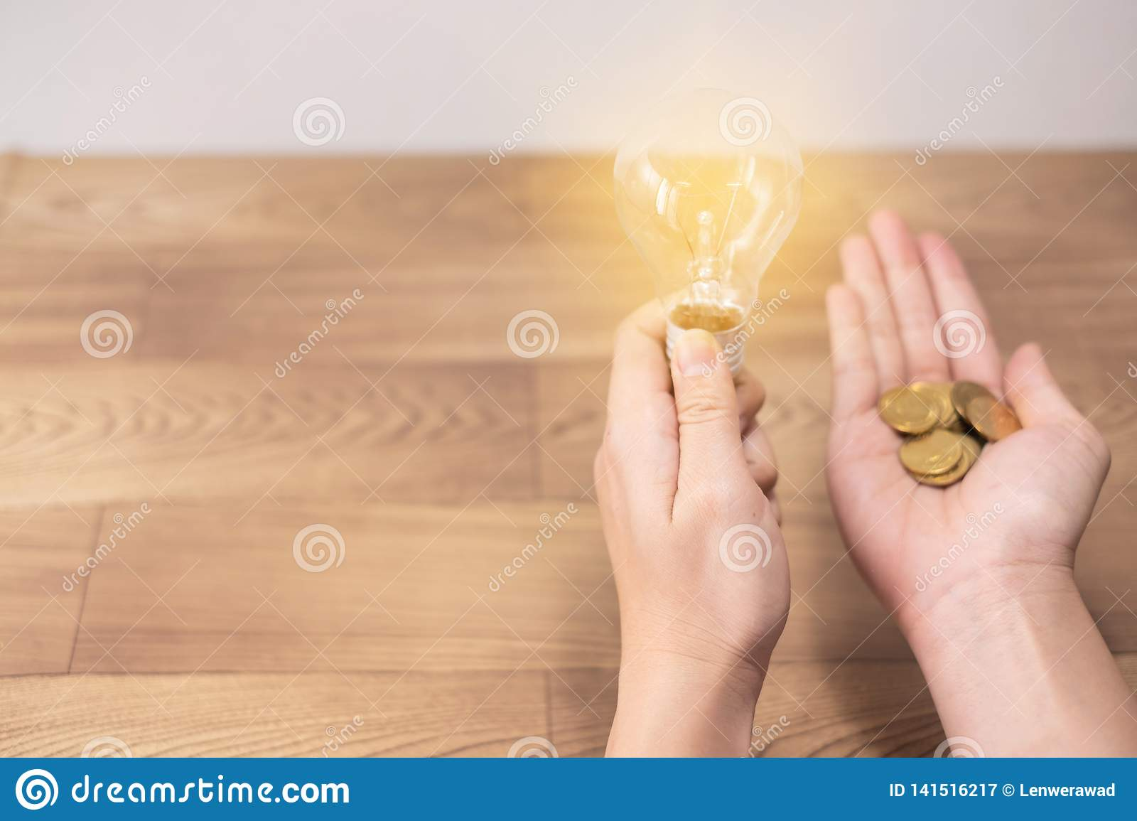 New idea concept, young women hand holding light bulb and coins on wooden backgrounds and new idea concept save power to save the.