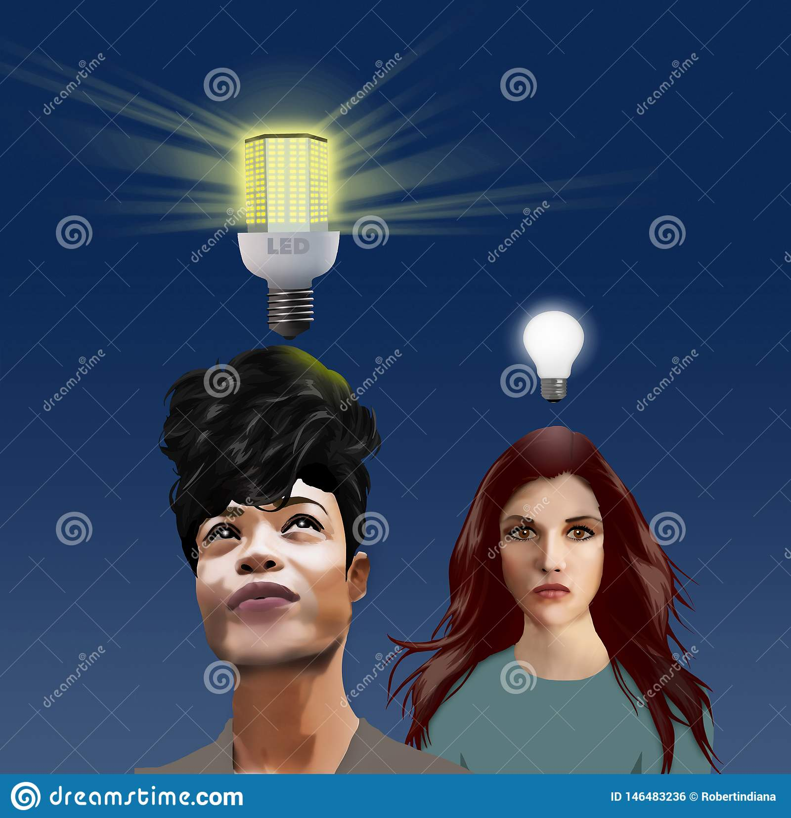 New Ideas--A modern LED light bulb shines brightly over the head of woman with a brilliant idea. The new bulb illustrates new