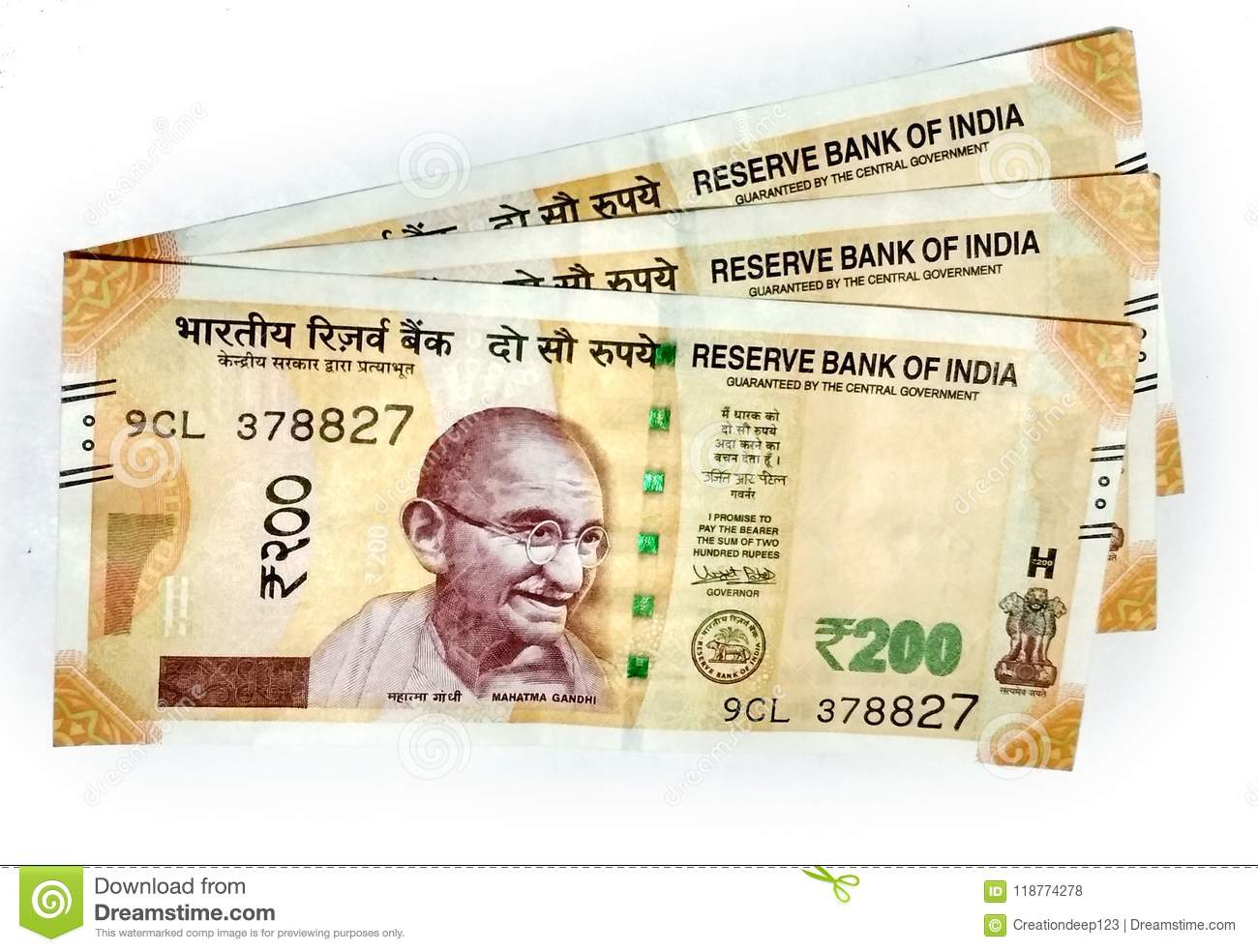 New Indian Currency Of 200 Rupee Notes Editorial Stock Photo - Image