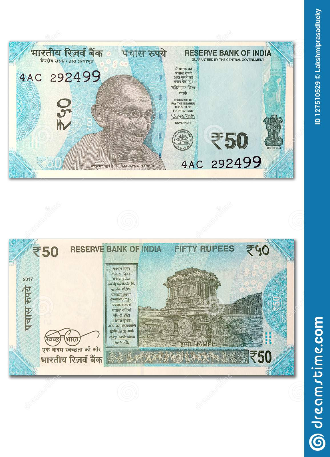 New Indian 50 Rupees Front And Back View On Isolted White