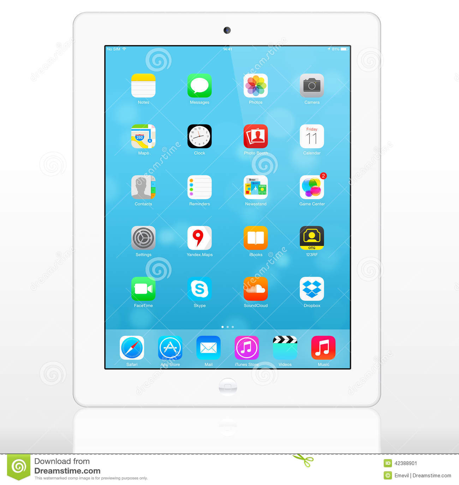 New IOS 7 1 2 Homescreen On An White IPad Display Editorial