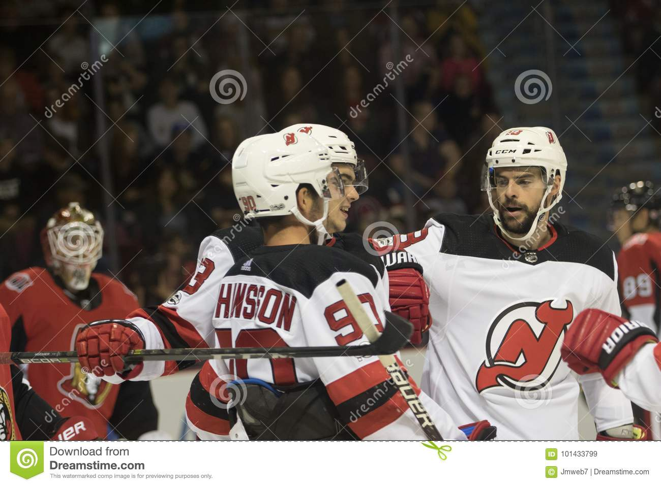 New Jersey Devils Celebrate Scoring A Goal Editorial Stock Image