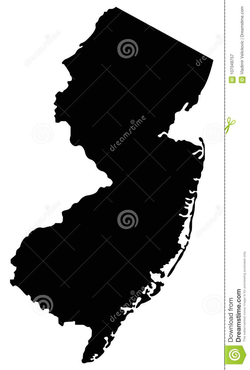 New Jersey Map State In The United States O America Stock Vector