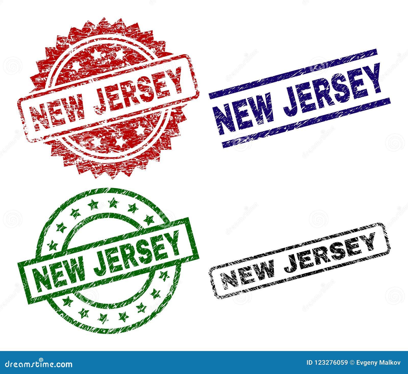 Damaged Textured NEW JERSEY Stamp Seals