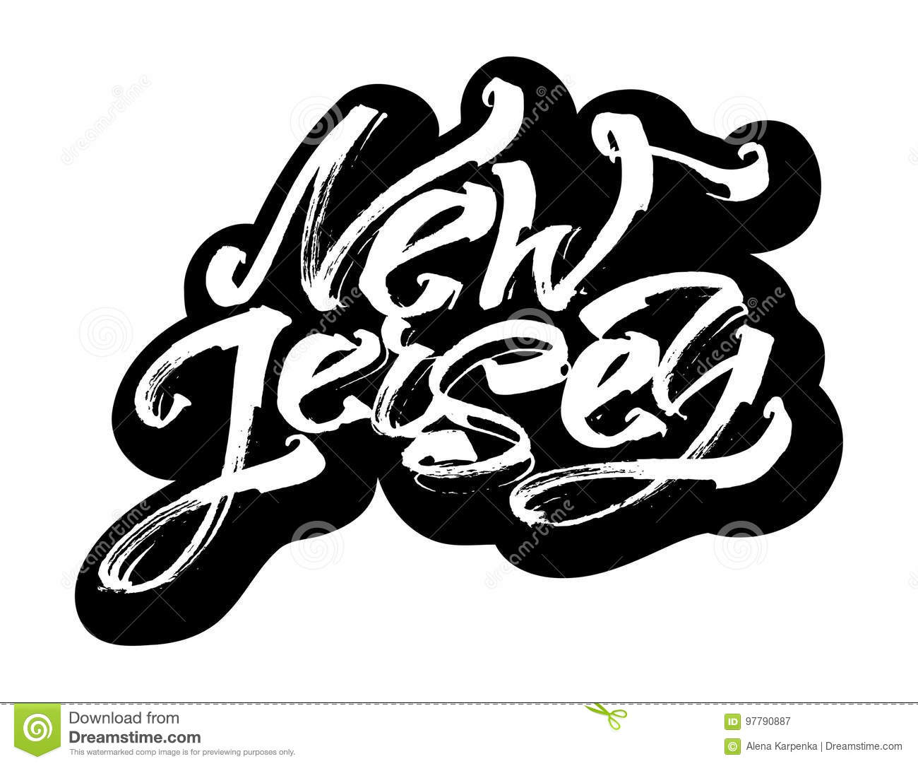 New Jersey Sticker Modern Calligraphy Hand Lettering For
