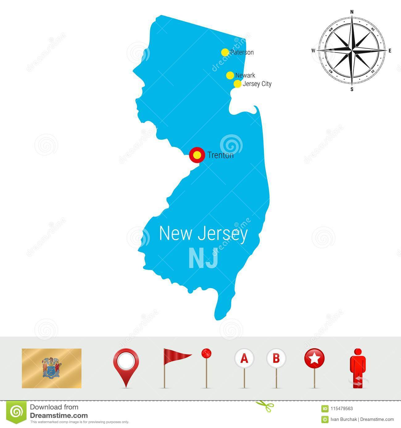 New Jersey Vector Map Isolated on White Background. Detailed Silhouette of New Jersey State. Official Flag of New Jersey