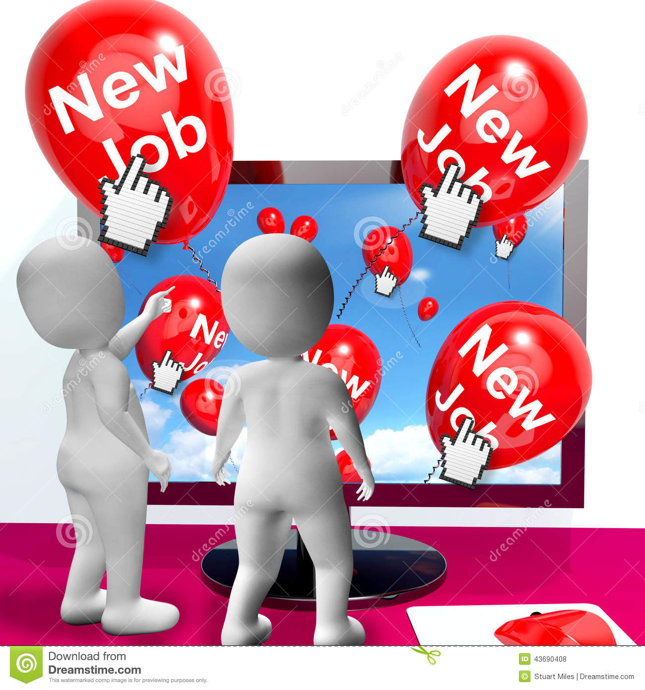 internet jobs stock images image 13678004 new job balloons show internet congratulations for new jobs royalty stock photos