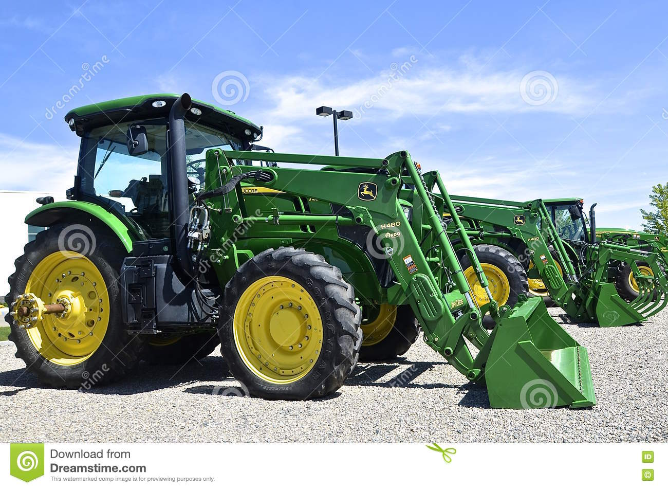 new john deere tractor and front end loader editorial stock image