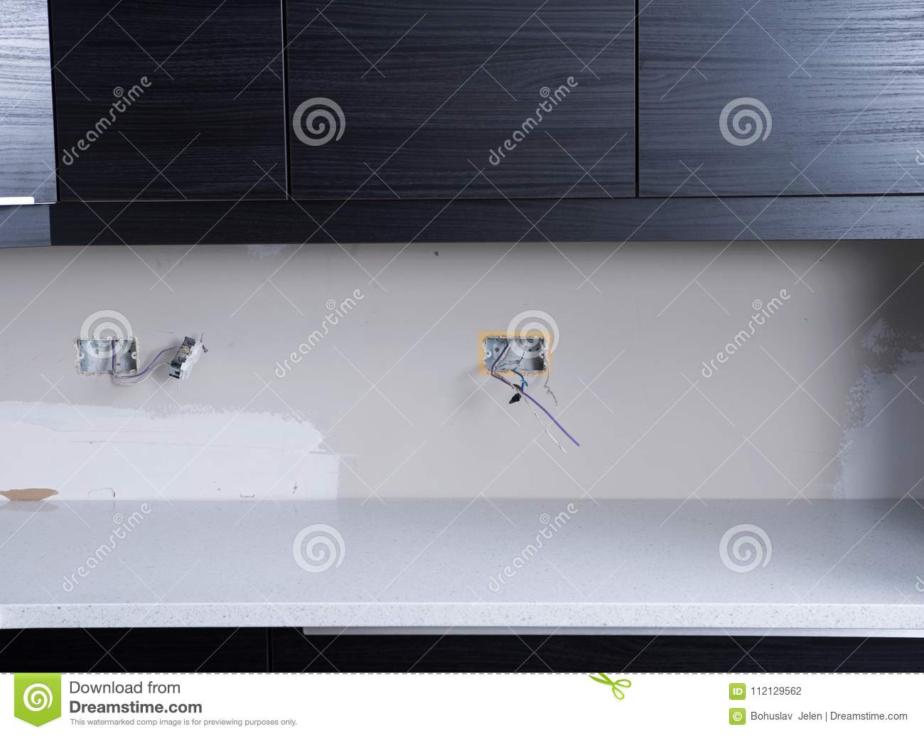 New Kitchen Cabinets Electric Wiring Outlets Switches And Download Installation Stock Photo Image