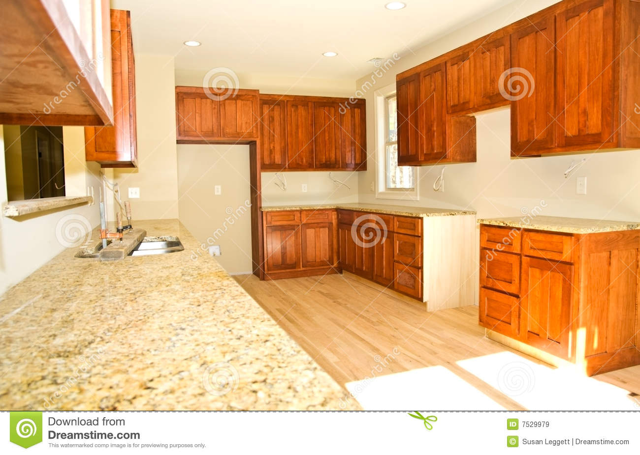 New Kitchen Cabinets/Installed Stock Image - Image of house ...