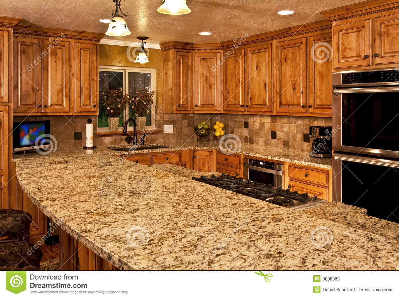 New Kitchen With Center Island Stock Image - Image of ...