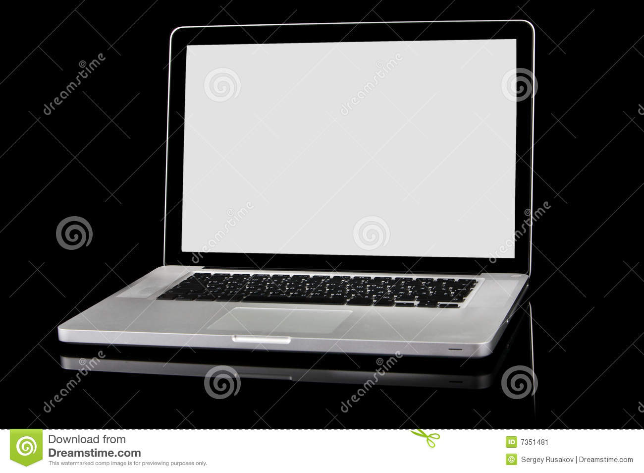 New Laptop With White Screen On A Black Background Stock