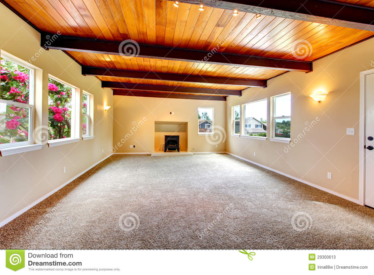Grand Fireplace W Vaulted Ceilings Beams Open Floor: New Large Empty Living Room With Wood Ceiling And