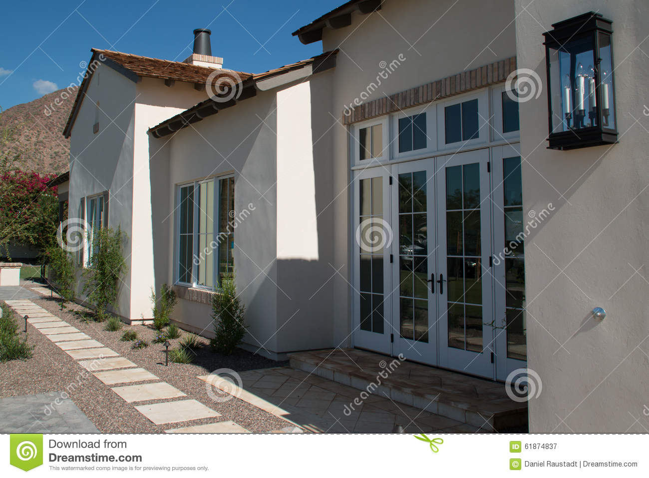 New large home exterior in the arizona desert stock photo for Building a house in arizona