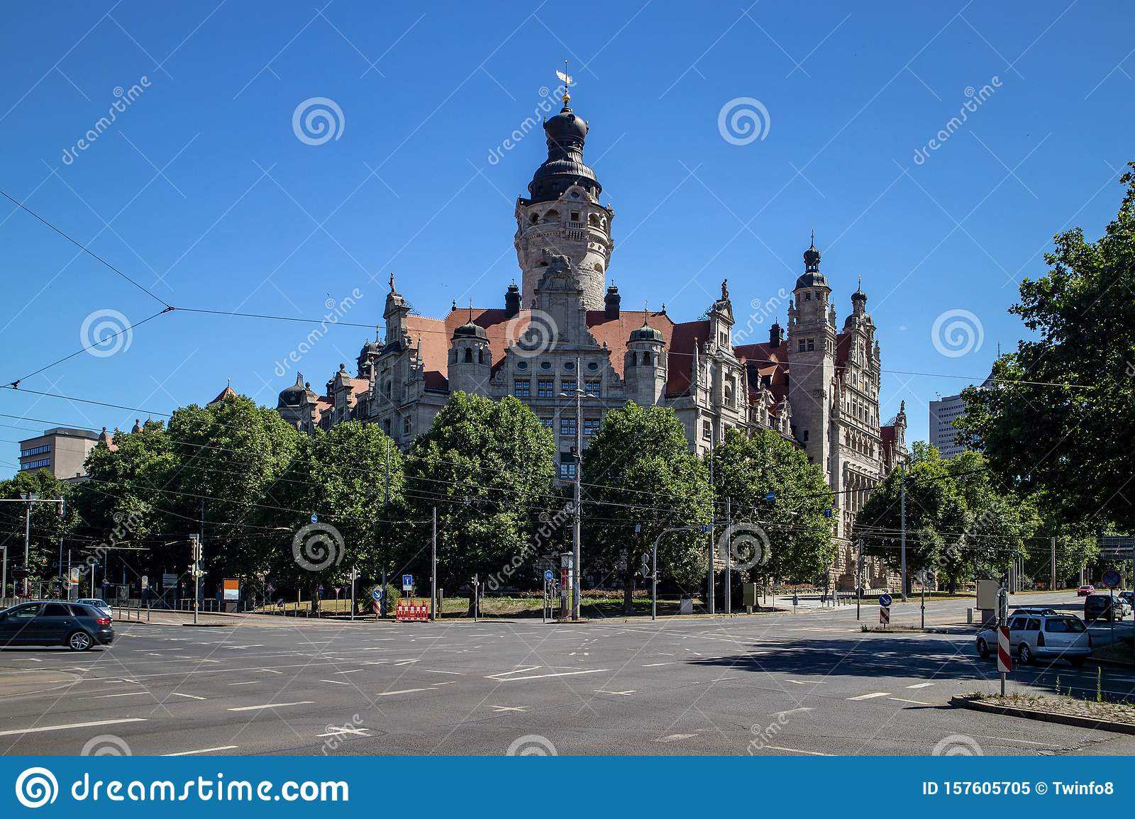 New Leipzig Town Hall With A Big Street Crossing Stock Image Image Of Famous House 157605705