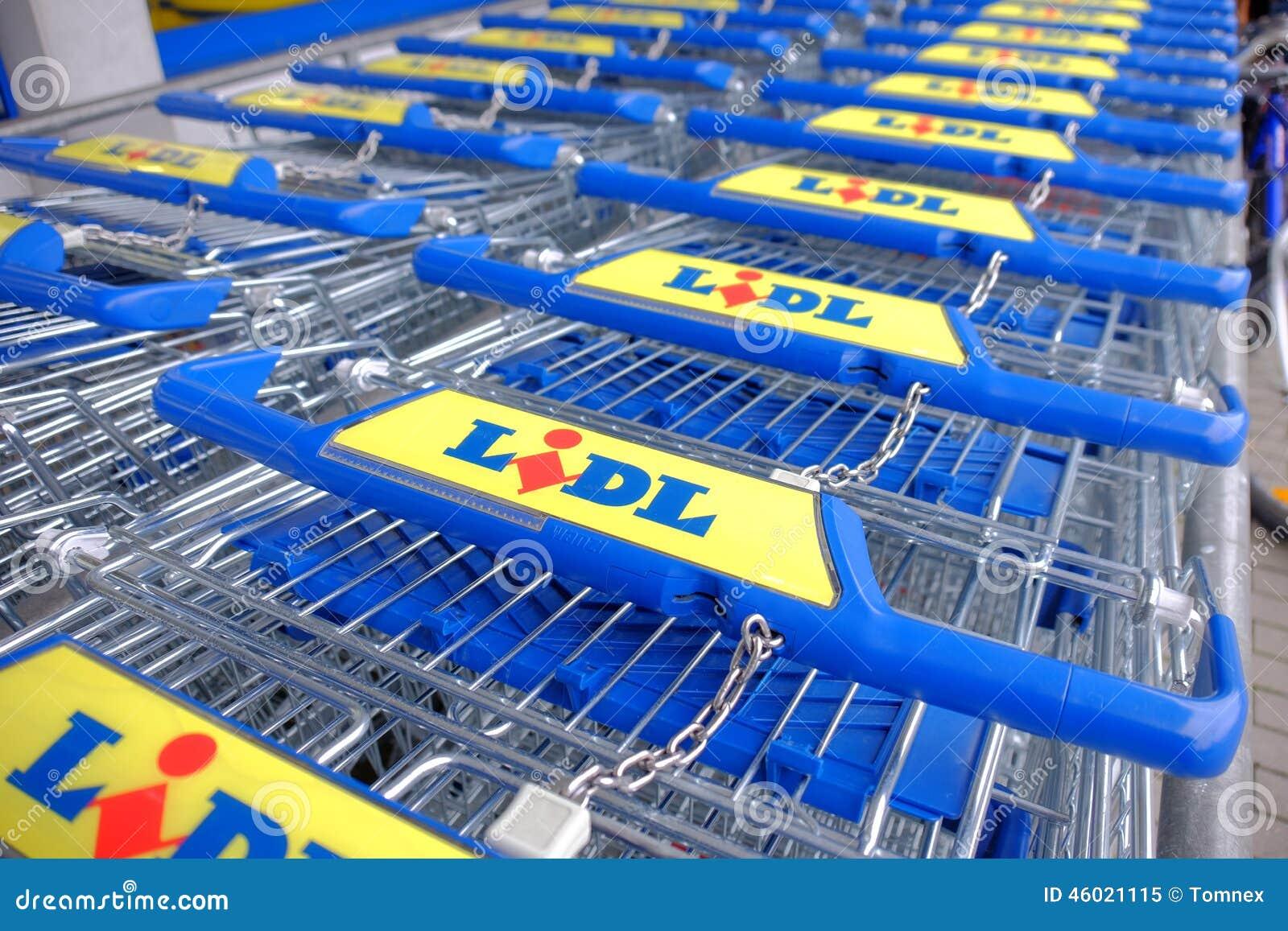 new lidl shopping carts editorial image image 46021115. Black Bedroom Furniture Sets. Home Design Ideas