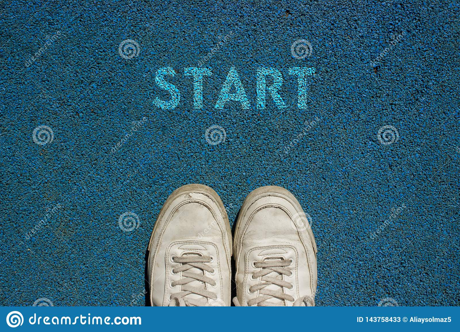New Life Concept, Motivational Slogan with Word START on the Ground of Walk Way
