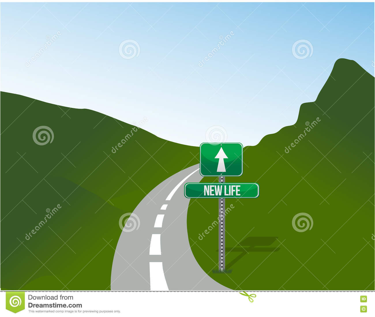 new life road sign and landscape