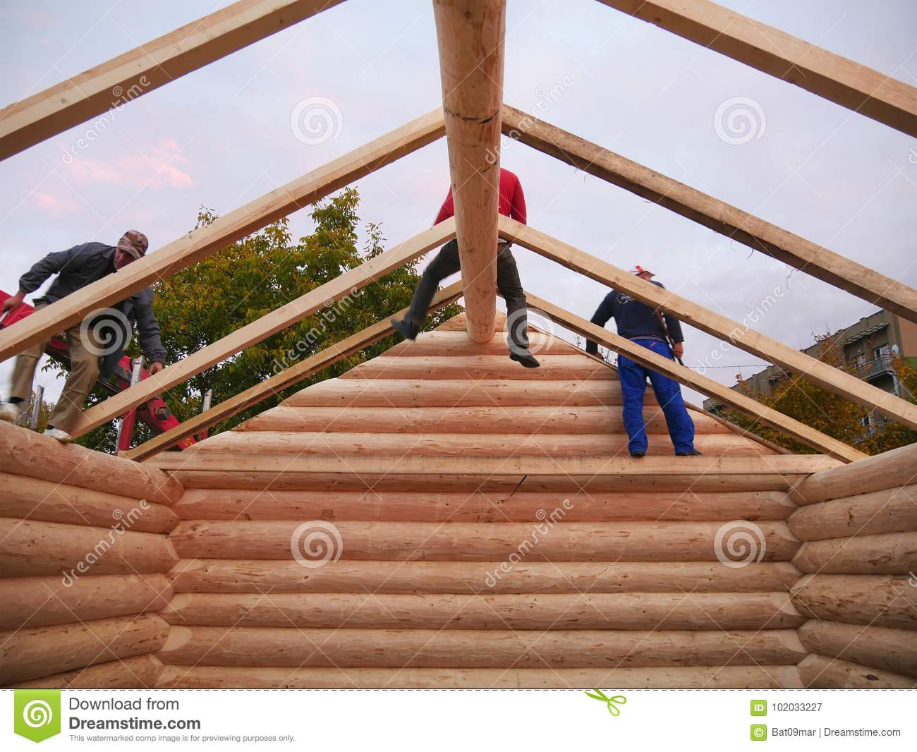 Carpenters assemble timber frame with common rafters on cabin roof