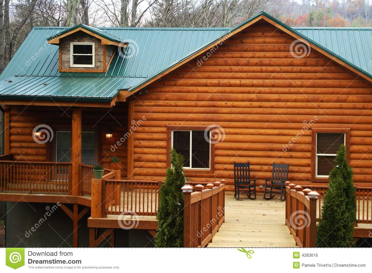 New log home with large deck royalty free stock image for Log home decks