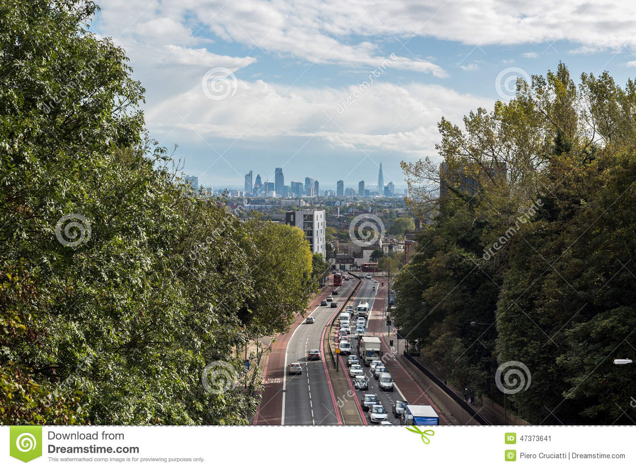 New London skyline seen from north London