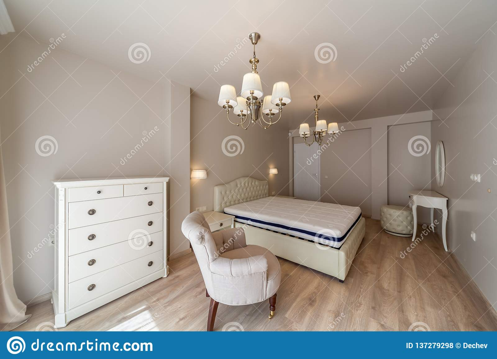 New luxury modern bedroom. New home. Interior photography