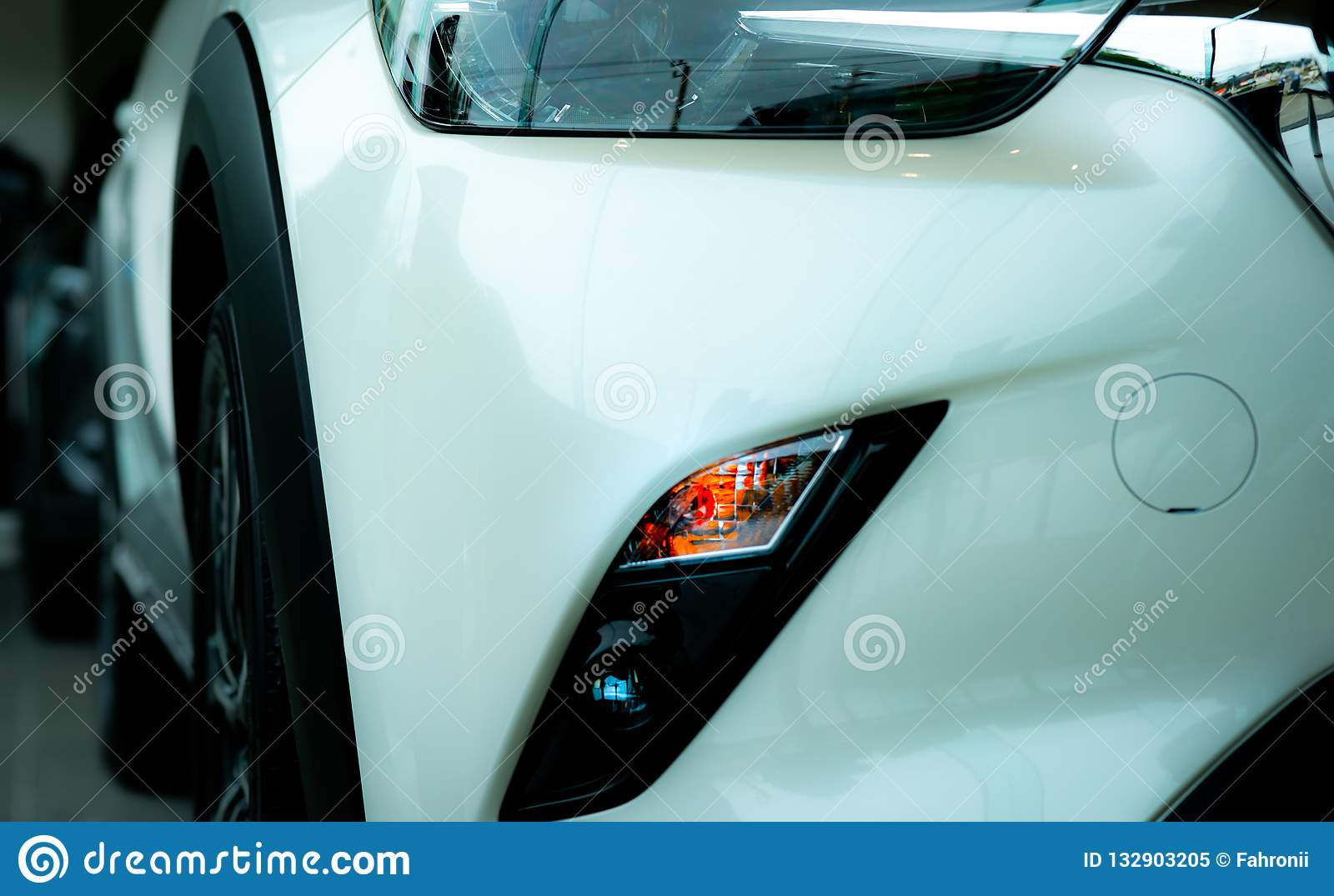 New Luxury White Car Parked In Modern Showroom Car Dealership Office Electric Or Hybrid Car Technology And Business Concept Stock Image Image Of Dealer Luxury 132903205