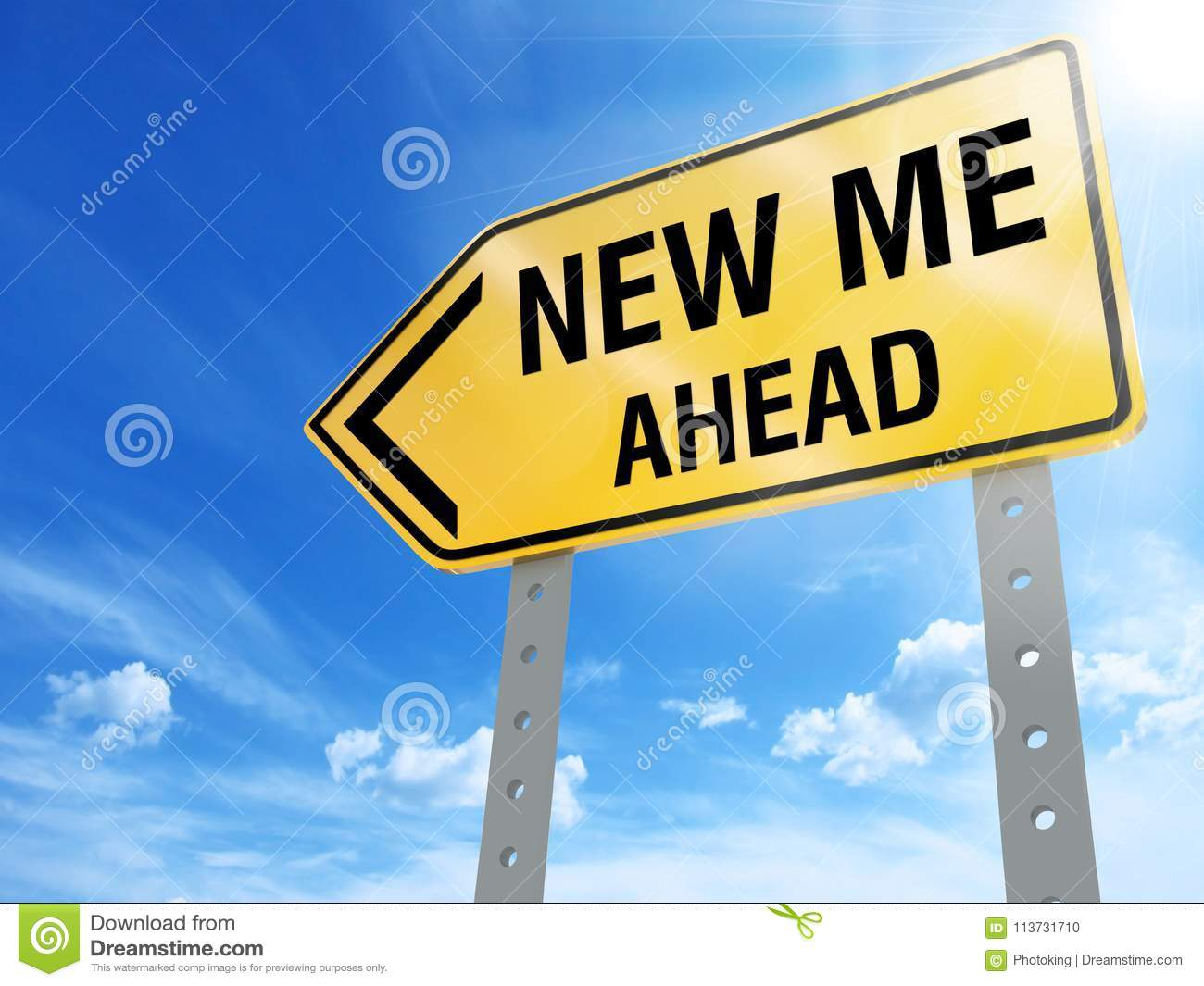 New me ahead sign