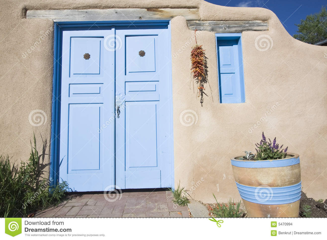 New mexican styled front door and window stock images for New front door and windows