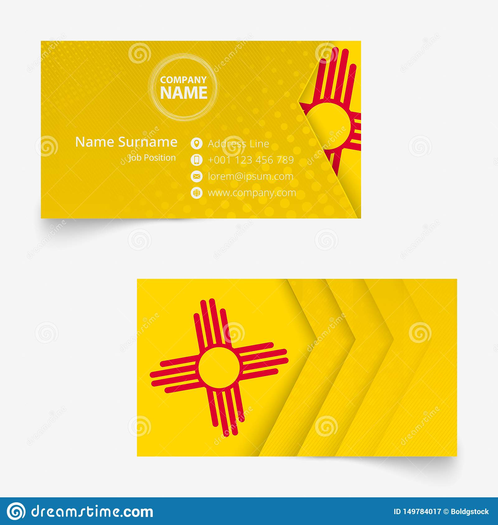 New Mexico Flag Business Card, Standard Size 90x50 Mm ...