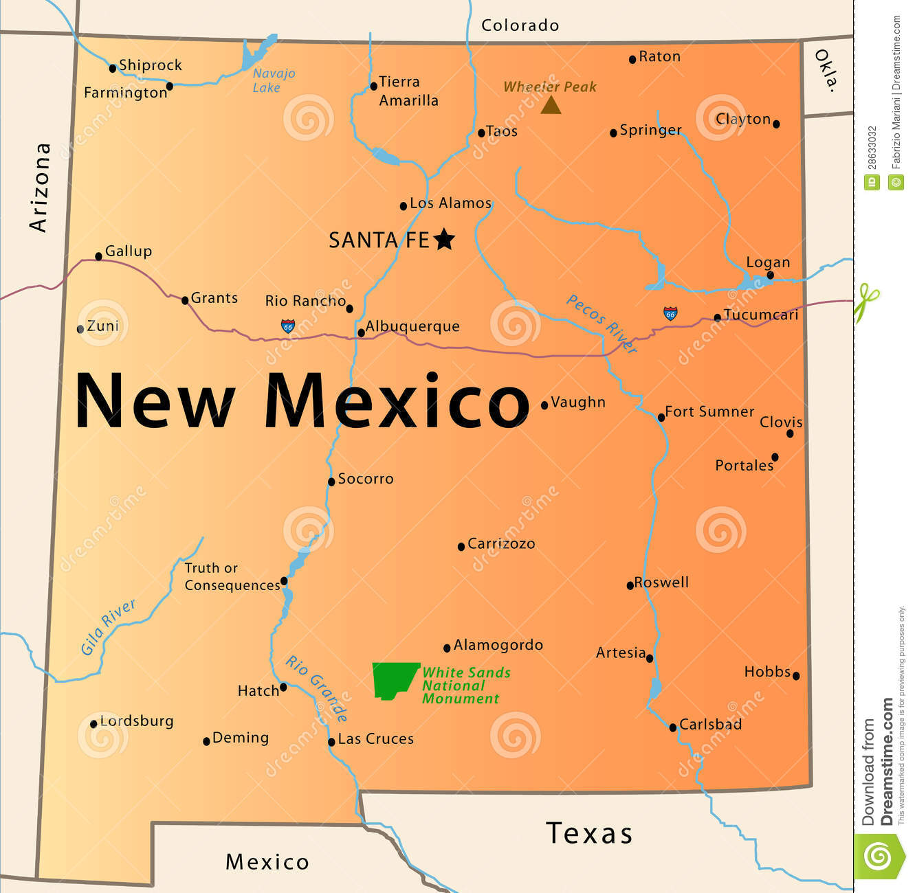 New Mexico Map Stock Vector Illustration Of Chart Hobbs 28633032