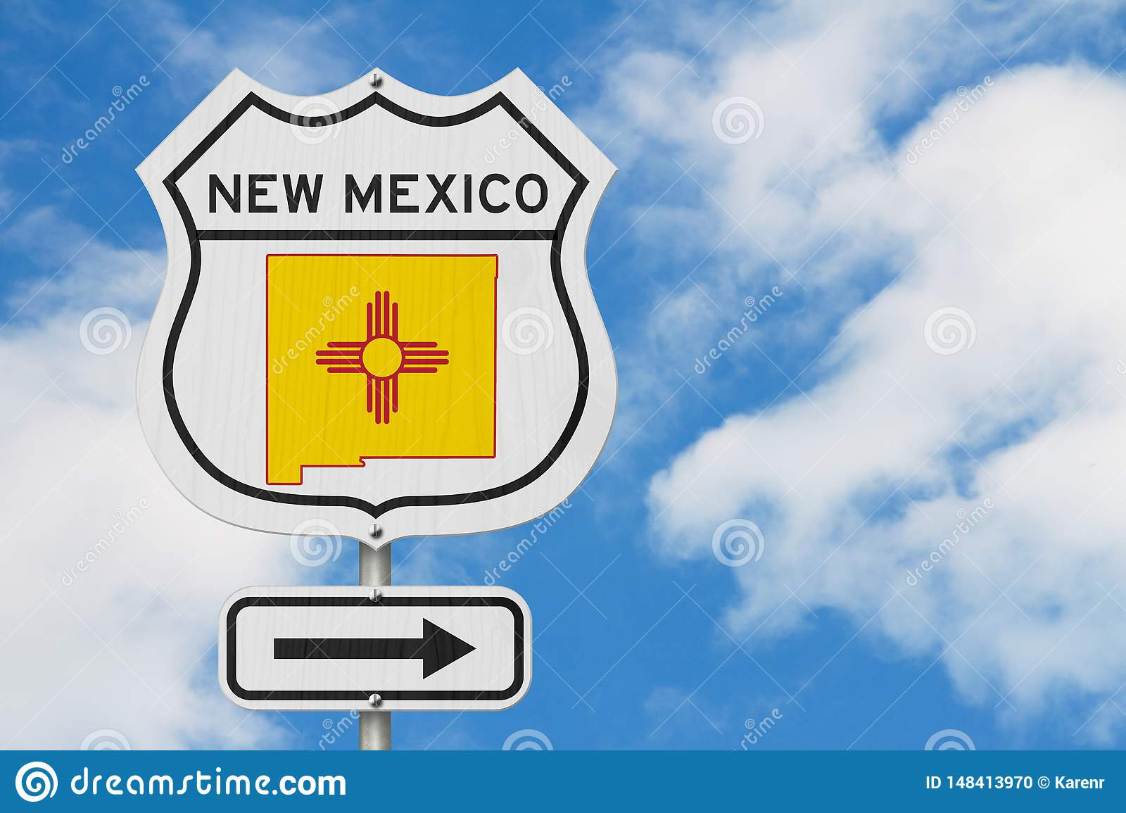 New Mexico map and state flag on a USA highway road sign