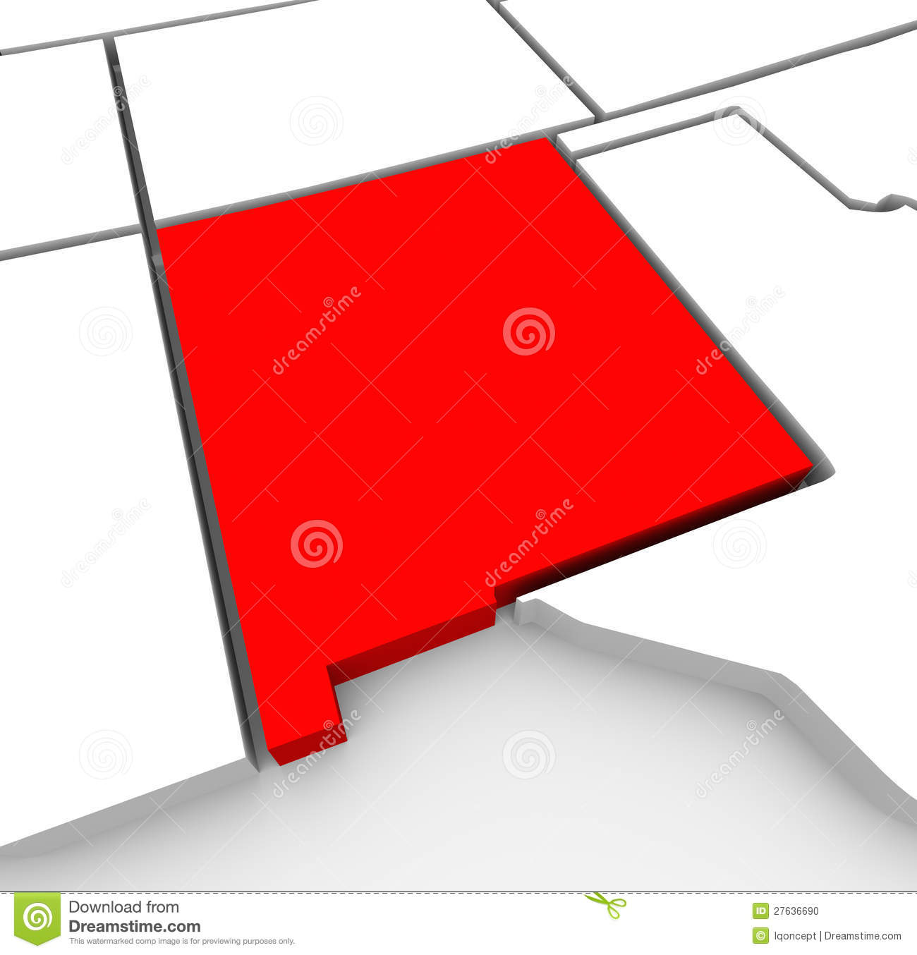 New Mexico Red Abstract 3D State Map United States America Stock ...