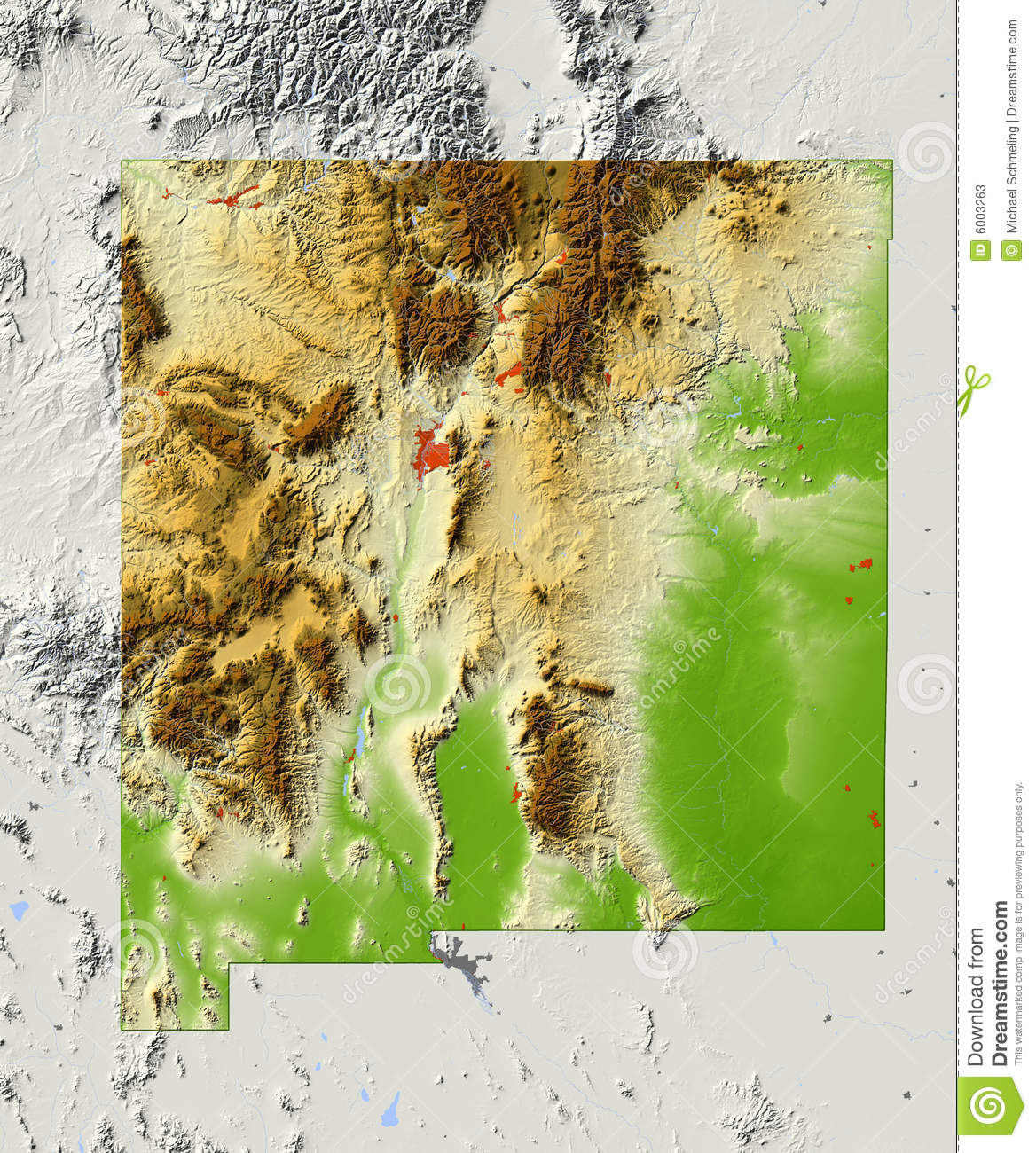 Map New Mexico Vintage State Postcards Vintage Postcard - New mexico elevation map