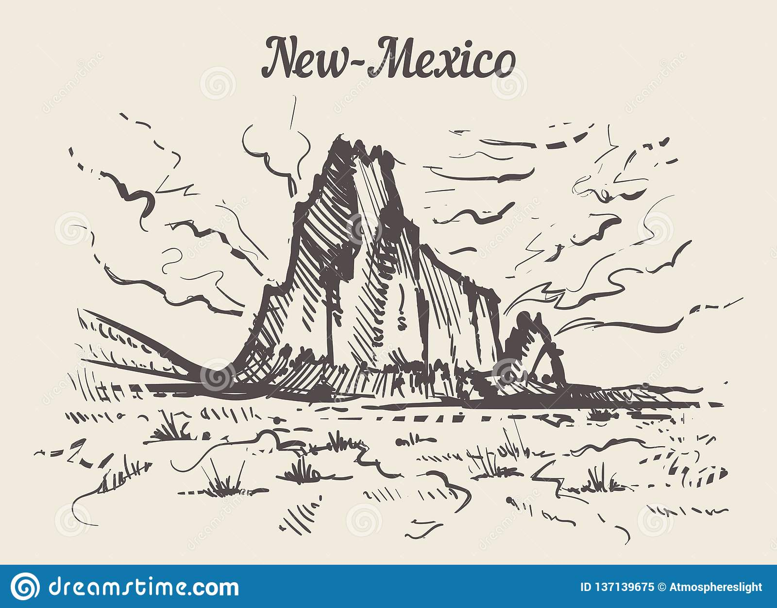 New-Mexico skyline hand drawn. New Mexico sketch style vector illustration