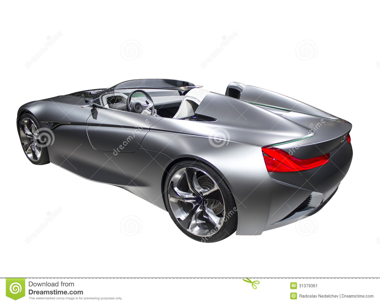 New model fast sport car silver color isolated on white background.