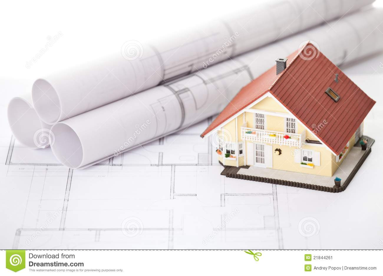 New model house on architecture blueprint plan stock image for New model house plan